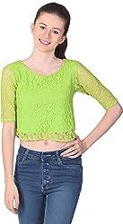 Unimod Women's Net Regular Fit Top (U073_Green_L, Green, L)