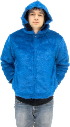 Sesame Street Cookie Monster Full Zip Adult Costume Hoodie Sweatershirt