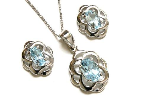 9ct White Gold Celtic Blue Topaz Pendant and Earring set