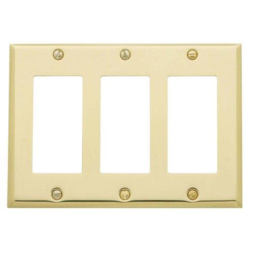 Yow- Baldwin Beveled Edge 3 Gfci Wall Plate - Polished Brass Model# 4740.030.Cd
