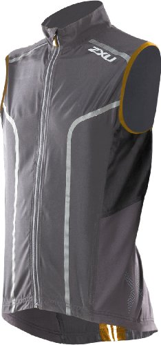 2XU 2XU Men's Active 360 Run Vest, Charcoal/Flame Orange, Medium