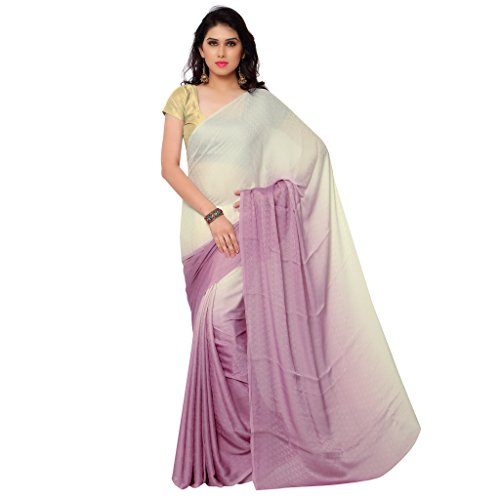 GL Sarees Casual Plain Solid Cream And Lavender Shaded Crepe Buti Work Saree For Women