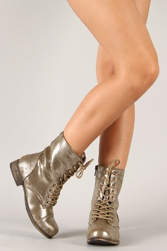 Bamboo Women'S Surprise-13 Combat Boots Military Cuff Down Design, Gold, 6 front-322132