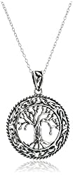 Rhodium-Plated Sterling Silver Celtic Tree of Life Pendant Necklace, 18""
