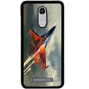 Casotec Fighter Plan Design 2D Hard Back Case Cover for Xiaomi Redmi Note 3 - Black