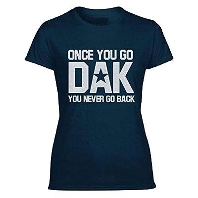 "Dak Prescott ""Once You Go Dak You Never Go Back"" Womens Navy Blue T-Shirt"