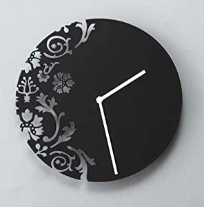 Deco - Black Metal Wall Clock with Modern Flower Design, Modern Home Decor