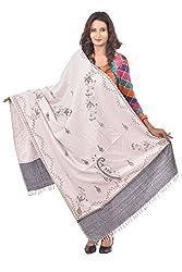 Weavers Villa - Womens Grey Polycotton Printed Shawls ,Stoles