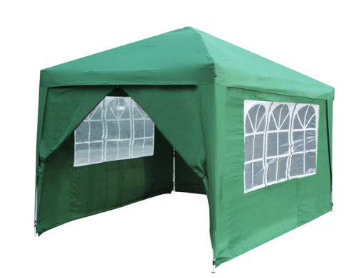 Budget 3m x 3m Foldable Pop Up Gazebo with Sidewalls and Doors - Green
