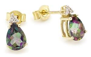 CHIC - 5012/3 - Boucles d'oreille Femme - Or jaune (9 carats) 1.3 Gr - Topaze - Diamant