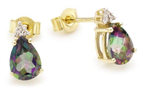 9ct Mystic Topaz And Diamond Earrings
