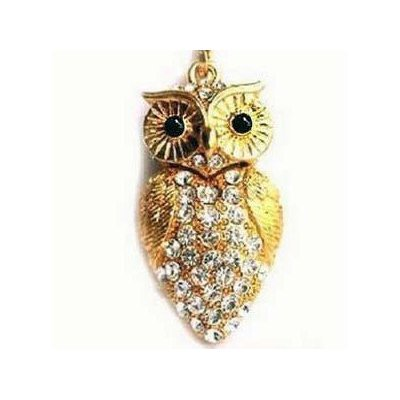 High Quality 32 GB Owl Shape Crystal Jewelry USB Flash Memory Drive Necklace(Golden) by T &  J