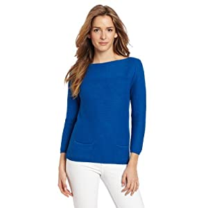 Leo & Nicole Women's Missy 2 Pocket 3/4 Sleeve Boat Neck Sweater, Blue Note, Large