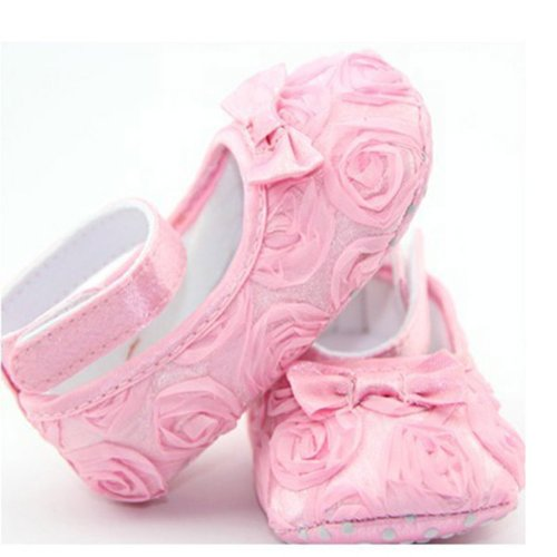 Lovely Newborn Infant Girl Baby Rose Style Soft Princess Shoes Cack Pink 13Cm front-606219