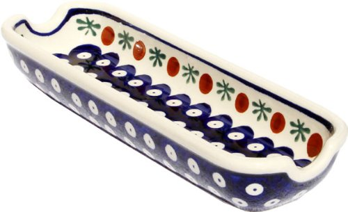 "Polish Pottery Corn-On-The-Cob Dish From Zaklady Ceramiczne Boleslawiec 1517-41 Traditional Pattern, Dimensions: Length: 8.75"" Width: 3"""