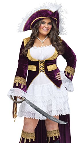 FunWorld Plus-Size Caribbean Queen Diamond Costume, Purple/Cream,  Plus Size Costume