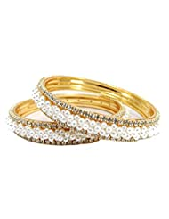Aria Party Wear Pearl CZ Gold Plated 2pc New Bangles For Women Ll20