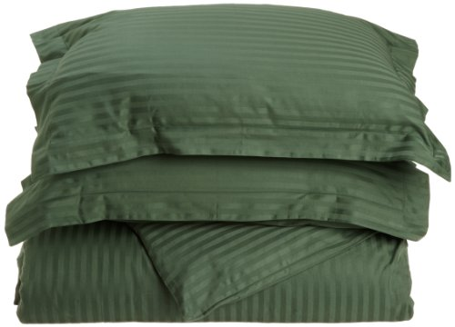 Impressions Genuine Egyptian Cotton 400 Thread Count Full/Queen 3-Piece Duvet Cover Set Stripe, Hunter Green