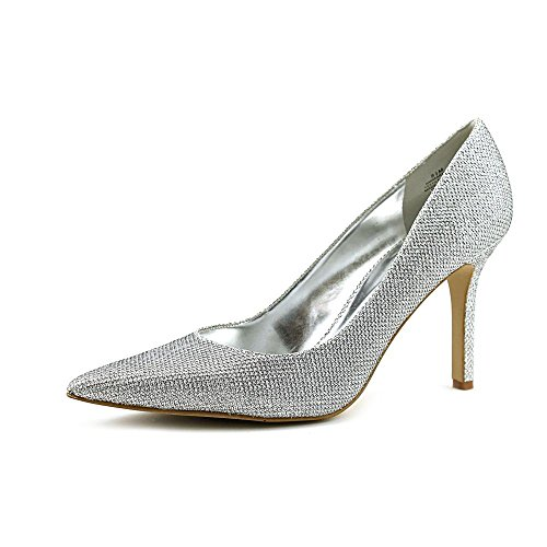 Nine West Martina Womens Size 5 Silver Textile Pumps Heels Shoes