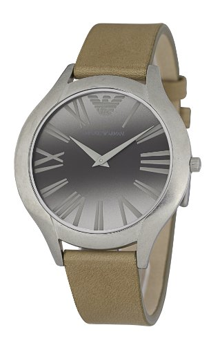 Emporio Armani Classic Collection AR0775 - Reloj analógico de cuarzo para mujer, correa de cuero color marrón