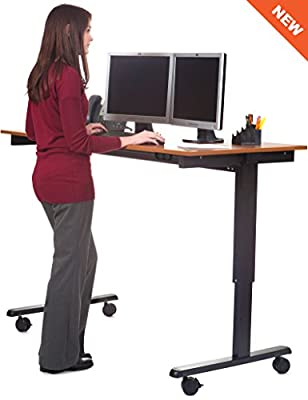 "60"" Bamboo Electric Stand Up Desk"