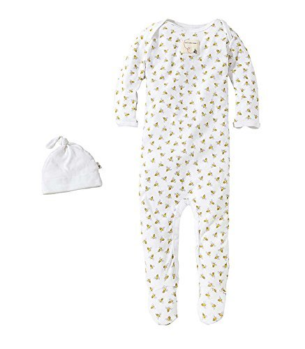 Burt's Bees Baby Boy Honey Print Footed Coverall Set 3-6 Months
