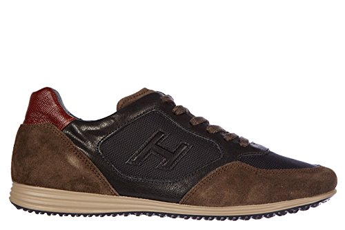 Hogan-mens-shoes-leather-trainers-sneakers-h205-olympia-brown