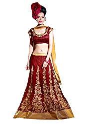 Viva N Diva Women's clothing low price sale offer low price sale offer Maroon Color Net Lehanga.