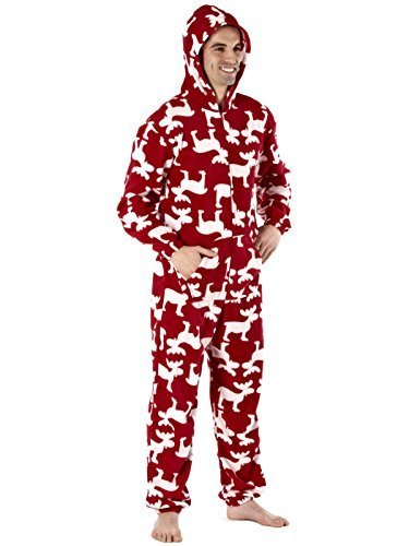 Mens-Soft-Microfleece-Moose-Design-Hooded-Onesie-Black-or-Red-Sizes-SmallMedium-or-MediumLarge