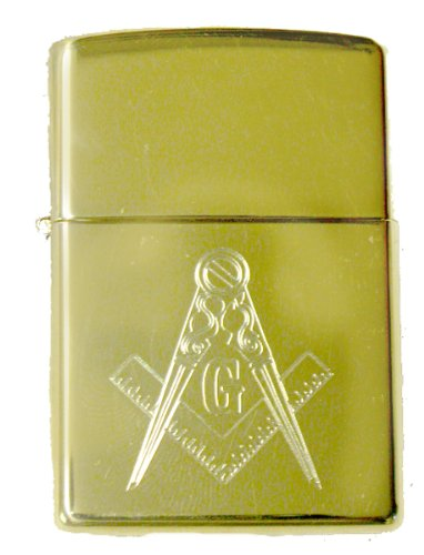 Zippo Masonic Mason G Gold Tone Lighter with Mason Symbol