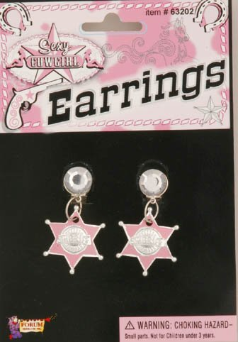 Cowgirl Pink Sheriff Star Earrings