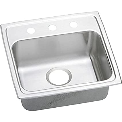 Elkao|#Elkay LRADQ1918652 Elkay 18 Gauge Stainless Steel 19 Inch x 18 Inch x 6.5 Inch single Bowl Top Mount Quick-Clip Kitchen Sink, 2 Faucet Holes,