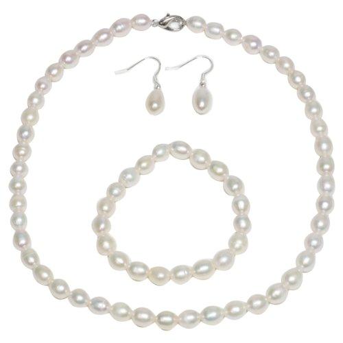 Genuine Freshwater White Pearl Necklace Bracelet & Earring Set