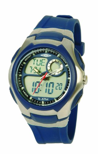 Umbro U887B Gents Watch Quartz Analogue and Digital Grey Dial Blue Plastic Strap