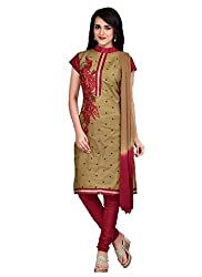 Trendy Fashion Women's Cotton Unstitched Dress Material (TF-0008_Light Brown With Maroon_Free Size)
