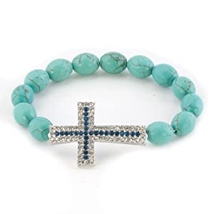Pugster Bling Jewelry Sapphire Blue Clear White Crystal Cross Turquoise Adjustable Bracelet