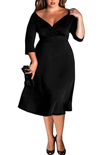 Women's Long Sleeve Plus Size Black V Neck Dress (XXXL(USXXL))
