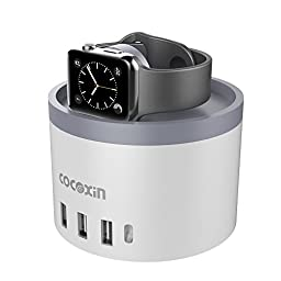 Apple Watch Series 2 Charging Stand, Cocoxin [Aluminum] [4-USB] [Type C] [Nightstand Mode] [Management Charging Dock] [Phone Holder] Charging Dock Station for All iPhone, iPad, Samsung and more
