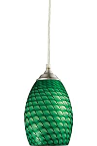 Z-Lite 131G-BN Jazz One Light Mini Pendant, Metal Frame, Brushed Nickel Finish and Green Shade of Glass Material