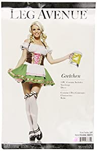 Leg Ave Women's 2 Piece Gretchen Includes Dress With Trim And Stockings With Bows, Brown/Green, Small