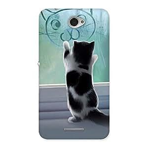 Premium Cute Kitty Face Print Back Case Cover for Sony Xperia E4