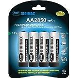 4 x AA (LR6,MN1500, R6) Rechargeables 2850 mAh AA ULTRA HIGH CAPACITY -