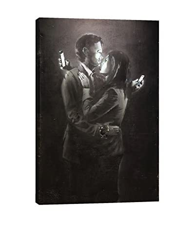 Banksy Mobile Lovers #2 Gallery Wrapped Canvas Print