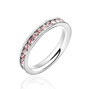 PlusMinus New Womens Pink Crystal Titanium Steel Fashion Rings Size 7