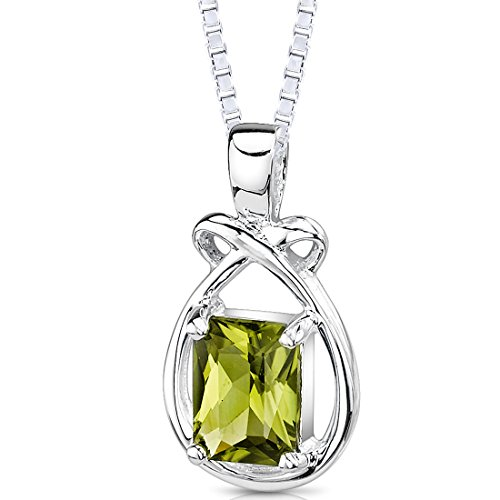 1.50 Carats Genuine Emerald Cut Peridot Sterling Silver Pendant Necklace