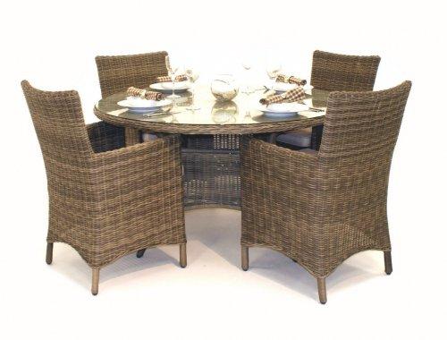 Memphis Rattan Gartenmöbel, für 4 Personen, runder Tisch, Stuhl, set