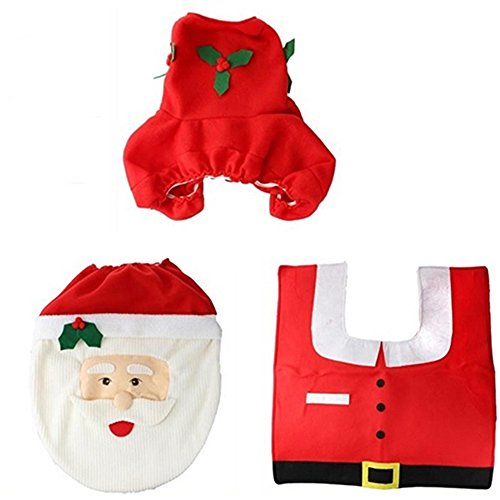 Santa Claus Seat Cover And Rug Set Christmas Toilet Tissue Radiator Cap Set