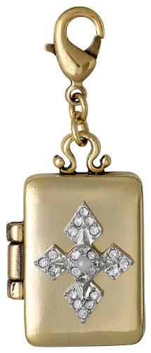 Pilgrim Jewelry Damen-Anhänger Messing Kristall Charms Versilbert und Vergoldet grau 4.2 cm 401346106