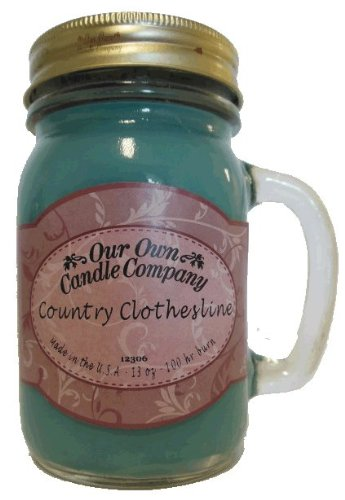 13oz COUNTRY CLOTHESLINE Scented Jar Candle (Our Own Candle Company Brand) Made in USA - 100 hr burn time