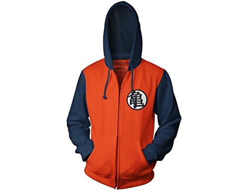 Ripple Junction Dragon Ball Z Kame Symbol Adult Zip Hoody Small Orange